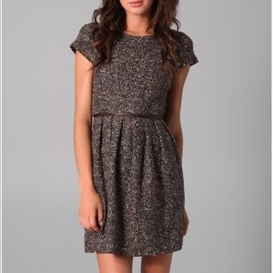Tibi Tweed and Leather A-Line Dress